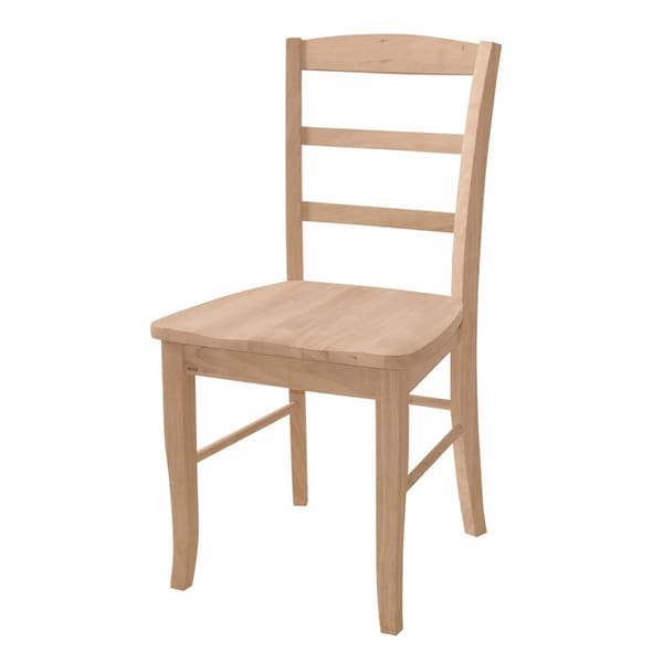 unfinished solid parawood madrid dining chair set of 2