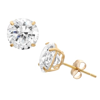 Gioelli 10k Yellow Gold 8mm Round Cubic Zirconia Basket Stud Earrings