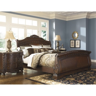 ashley traditional bedroom furniture bling signature design by ashley north shore dark brown sleigh bed traditional bedroom furniture for less