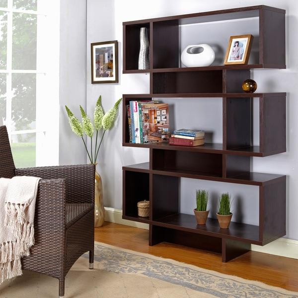 Modern Espresso Bookcase