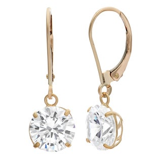 Gioelli 10k Yellow Gold 8 mm Round Basket-set Cubic Zirconia Leverback Earrings