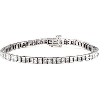 Montebello 14k White Gold 4ct TDW Princess-cut Diamond Tennis Bracelet