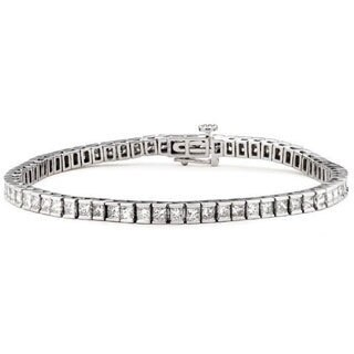 Montebello 14k White Gold 3 1/4ct TDW Princess-cut Diamond Tennis Bracelet (H-I, I1)