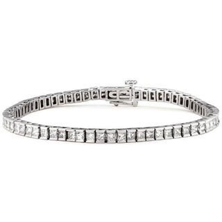 Montebello 14k White Gold 5ct TDW Princess-cut Diamond Tennis Bracelet (G-H, VS1-VS2)