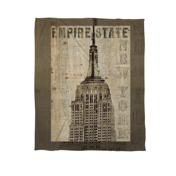 Vintage NY Empire State Coral Fleece Throw