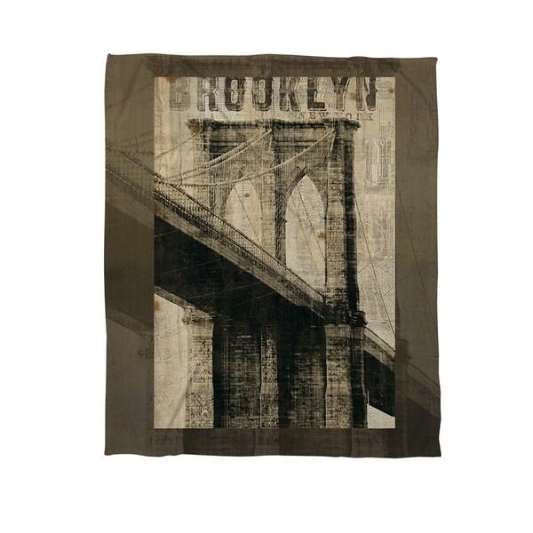Vintage NY Brooklyn Coral Fleece Throw