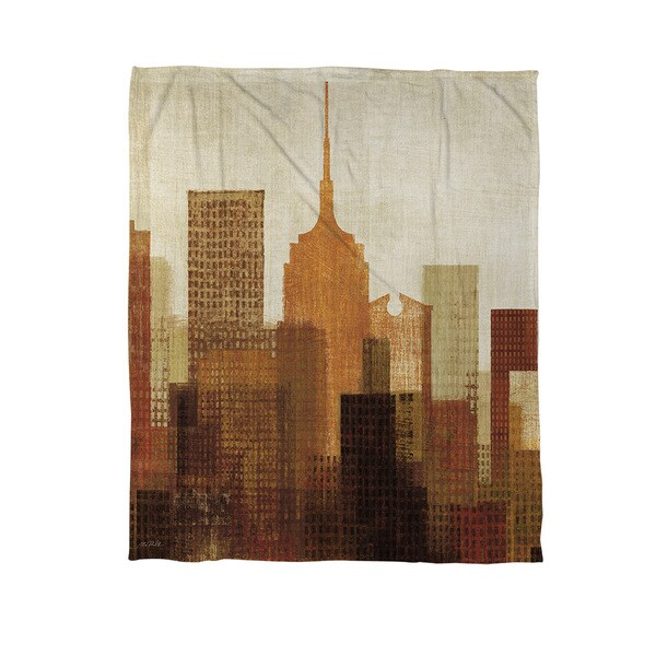 Summer in the City Blue Coral Fleece Throw