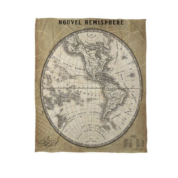 French World Map III Coral Fleece Throw