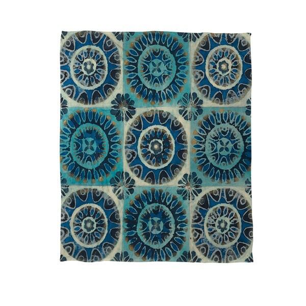 Floral Tile Suzani Coral Fleece Throw