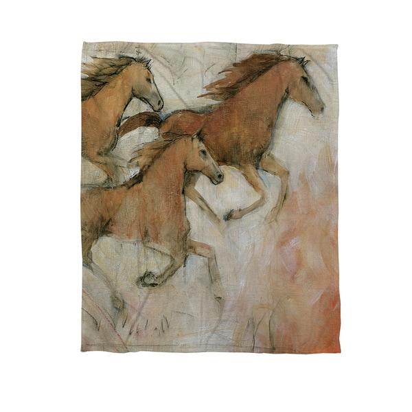 Horse Fresco II Coral Fleece Throw