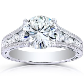 Annello by Kobelli 14k White Gold 2 2/5ct TGW Moissanite (HI) and Channel Diamonds Vintage Engagement Ring