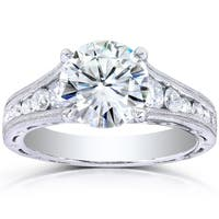 Annello by Kobelli 14k White Gold 2 2/5ct TGW Moissanite and Channel Diamonds Vintage Engagement Ring