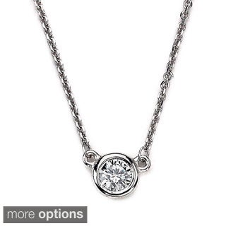 Diamonds For A Cure 14k White Gold 1/4ct TDW Bezel Round Solitaire Diamond Necklace ( SI1-SI2)