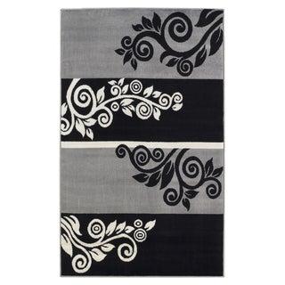 Linon Capri Black/ Grey Area Rug (4'3 x 7'3)