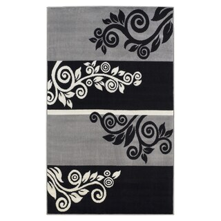 Linon Capri Black/ Grey Area Rug - 4'3 x 7'3