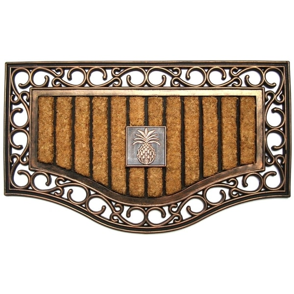 """First Impression Natural Copper Finish Rubber and Coir Brush Mat(30"""" X 18"""")"""