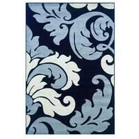 Linon Corfu Collection Black/ Grey Area Rug (1'10 x 2'10) - 1'10 x 2'10