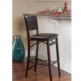 Linon Ciara Folding Counter Stool, Dark Brown Padded Back