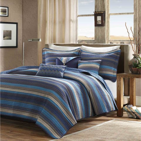 Madison Park Cabrillo Blue Reversible Coverlet Set