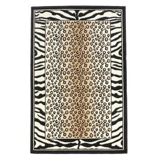 Linon Capri Black/ White Area Rug (4'3 x 7'3)