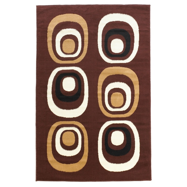 Linon Capri Brown/ White Area Rug (4'3 x 7'3)