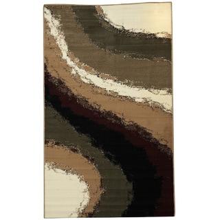 Linon Capri White/ Burgundy Area Rug (4'3 x 7'3)