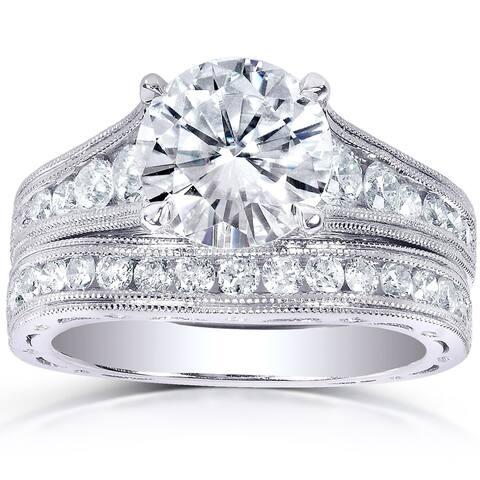 Annello by Kobelli 14k White Gold 1 7/8ct TGW Moissanite and 7/8ct TDW Diamond Bridal Set