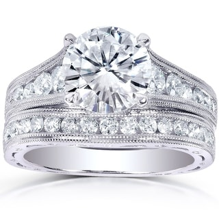 Annello by Kobelli 14k White Gold 2 4/5ct TGW Round Moissanite (HI) and Channel-set Diamond Milgrain Edged Bridal Rings Set