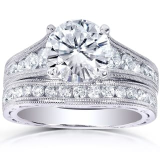 Annello by Kobelli 14k White Gold 2 4/5ct TGW Round Moissanite (HI) and Channel-set Diamond Milgrain Edged Bridal Rings Set|https://ak1.ostkcdn.com/images/products/9363577/P16555568.jpg?impolicy=medium