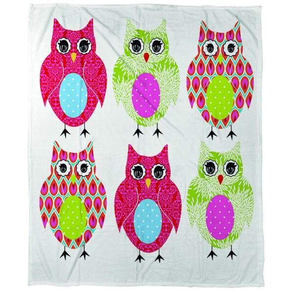Owls Coral Fleece Throw