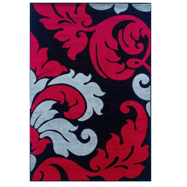 Linon Corfu Collection Black/ Red Area Rug (5' x 7'7)