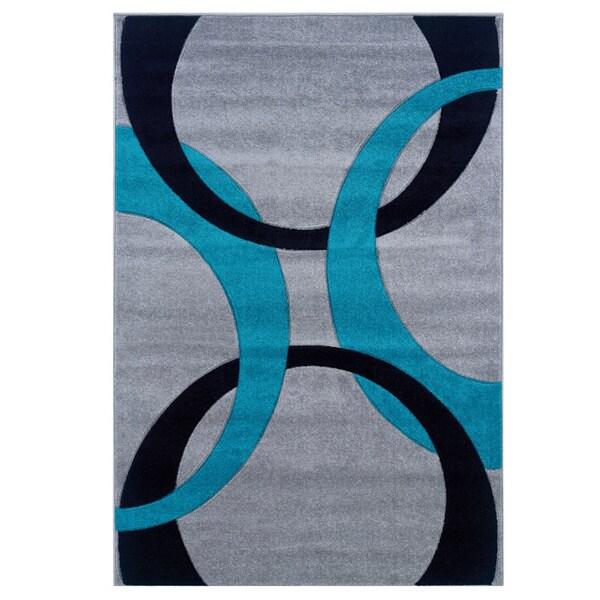 Linon Corfu Collection Grey/ Turquoise Area Rug - 5' x 7'7