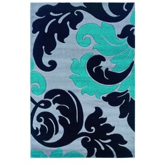 Linon Corfu Collection Grey/ Turquoise Area Rug (5' x 7'7)