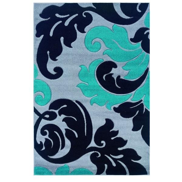 Linon Corfu Collection Grey/ Turquoise Area Rug (8' x 10'3) - 8' x 10'3