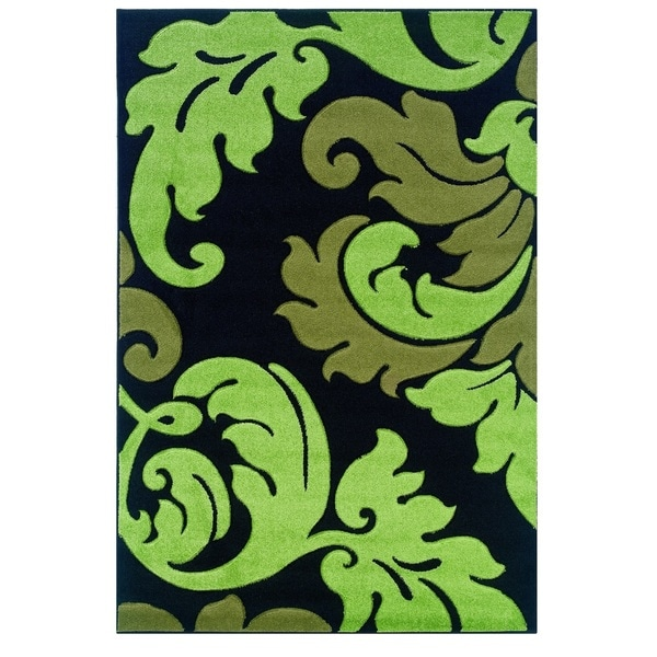Linon Corfu Collection Black/ Lime Area Rug (8' x 10'3)