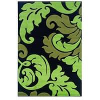Linon Corfu Collection Black/ Lime Area Rug (8' x 10'3)