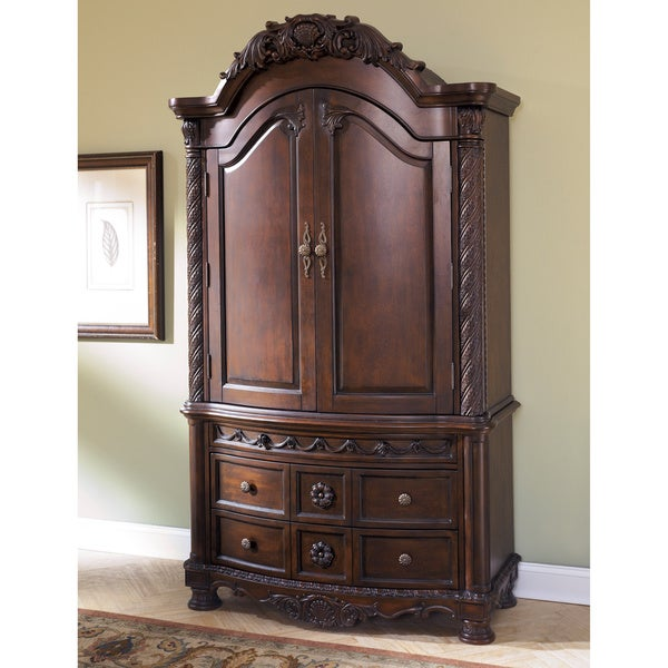 Signature Design By Ashley North Shore Dark Brown Armoire Free Shipping Today Overstock Com