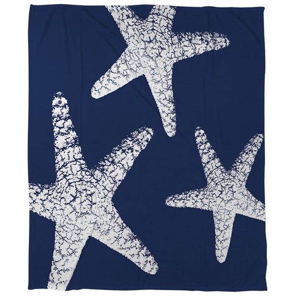 Nautical Nonsense White Blue Starfish Coral Fleece Throw