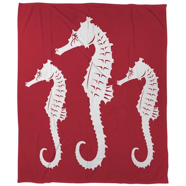 Nautical Nonsense White Red Seahorses Coral Fleece Throw