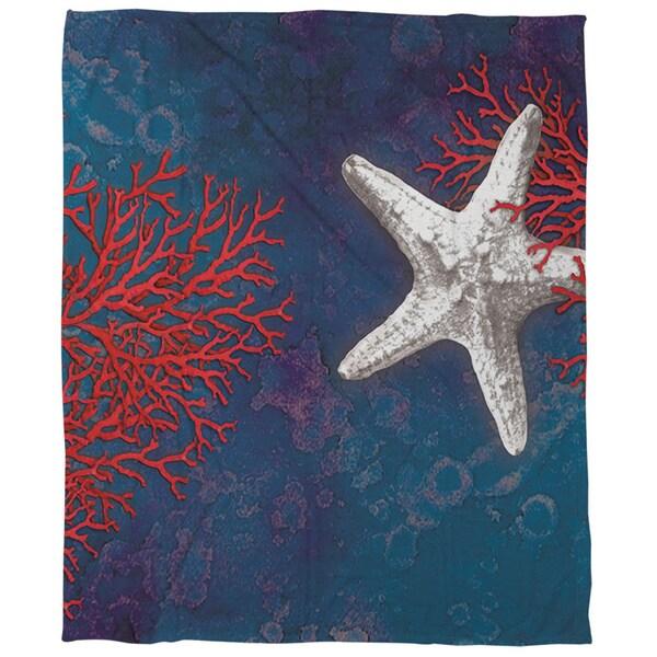 Seastar Bay Starfish Coral Fleece Throw