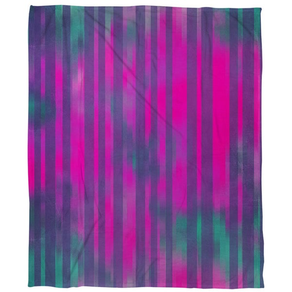 Stripes Pink Turquoise Coral Fleece Throw