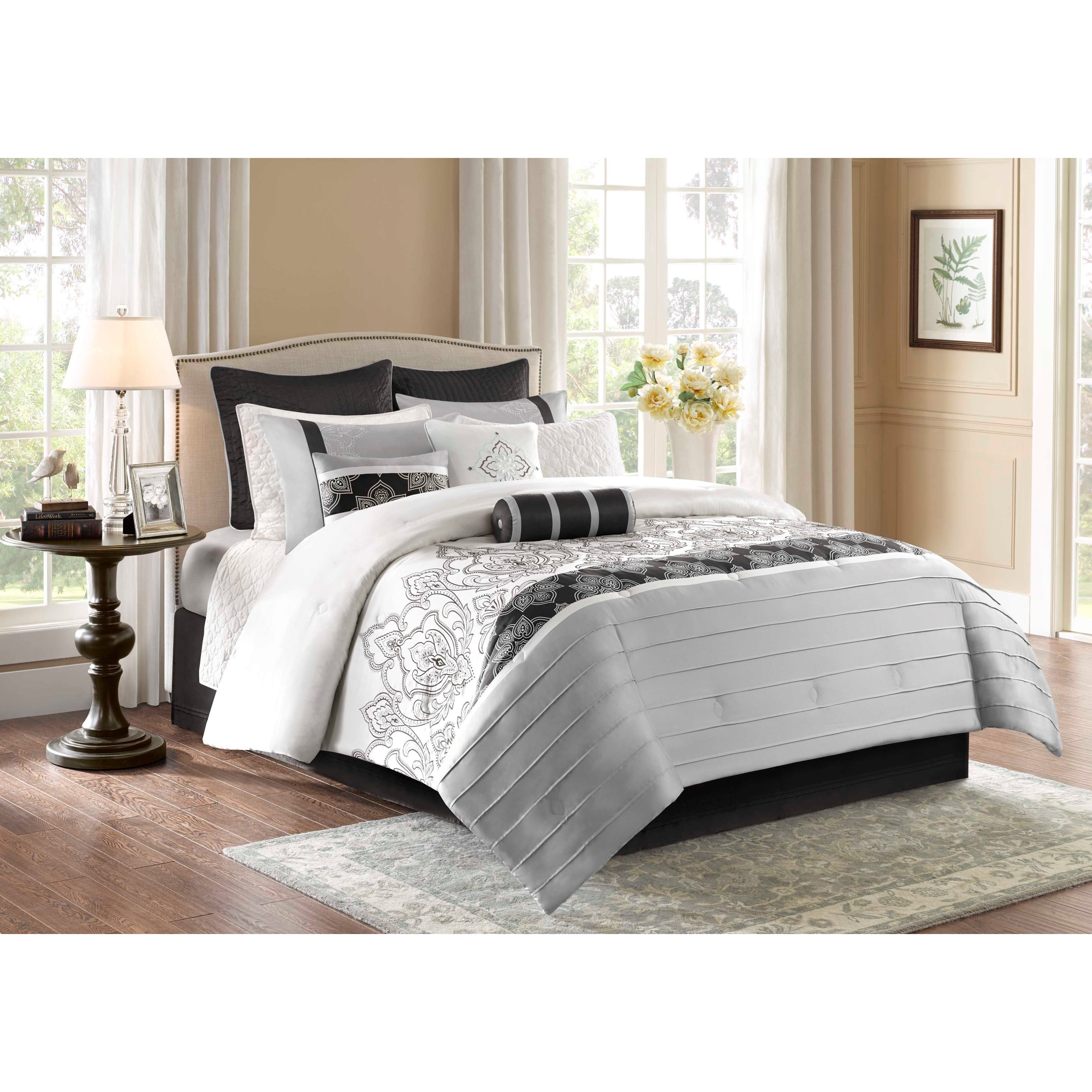 Luxurious  9 Piece Embroidered  Charmeuse Comforter Bedding Set Color Black New.