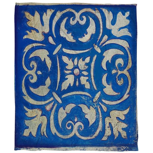 Blue Mosaic Coral Fleece Throw
