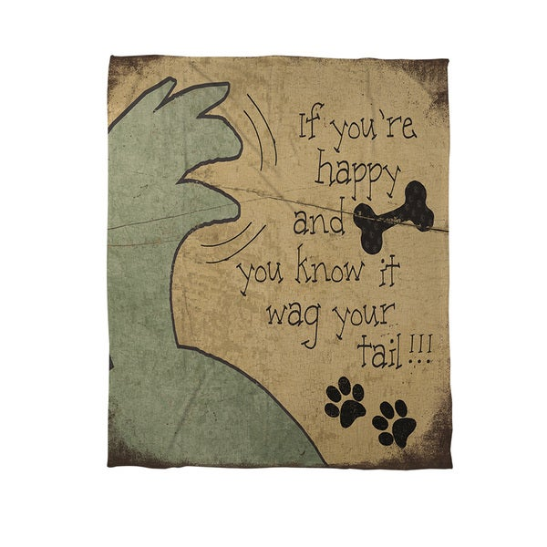 Wag Your Tail Coral Fleece Throw