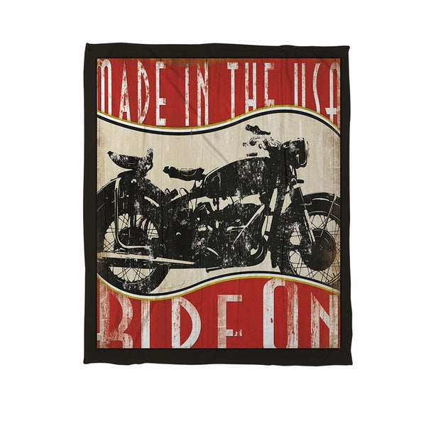 Vintage Motorcycle Coral Fleece Throw