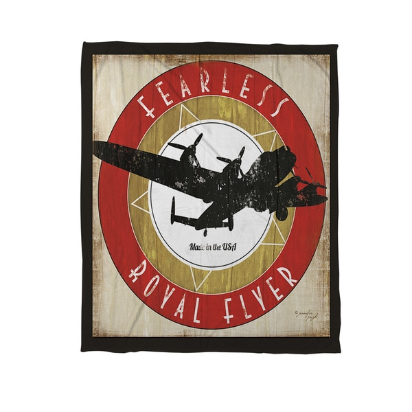 Vintage Airplane Coral Fleece Throw
