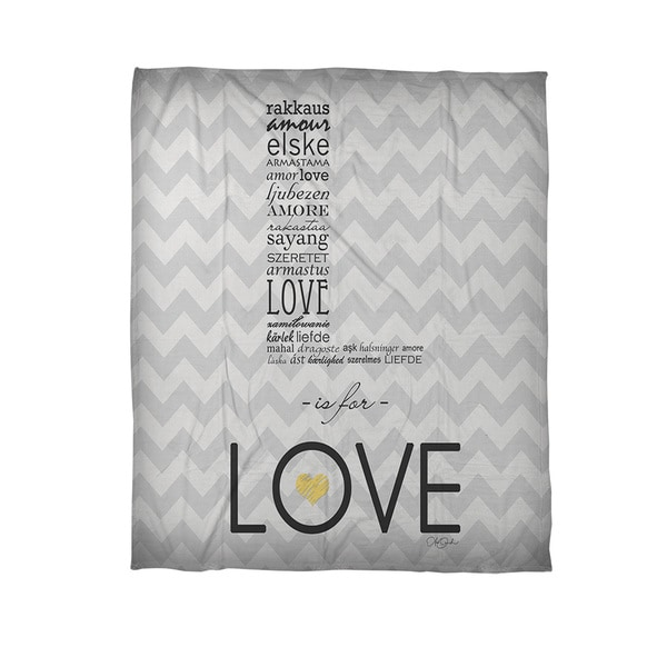 L is for Love Coral Fleece Throw Blanket