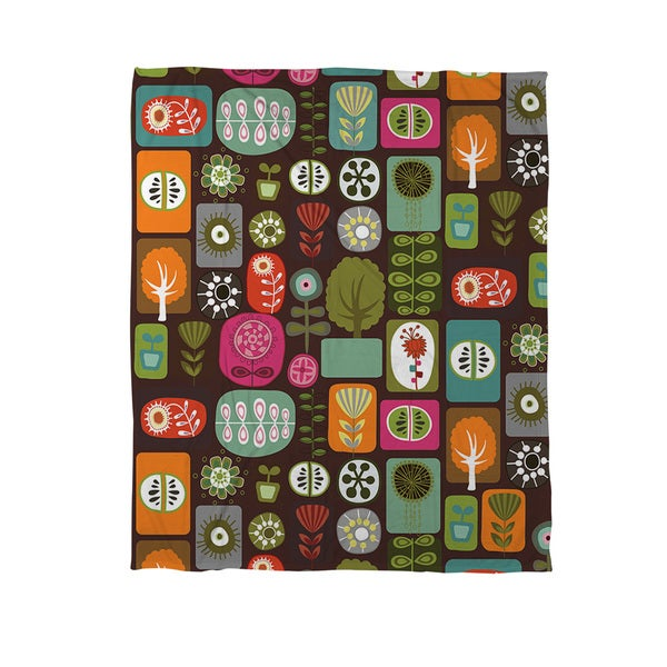Trees and Flowers Coral Fleece Throw