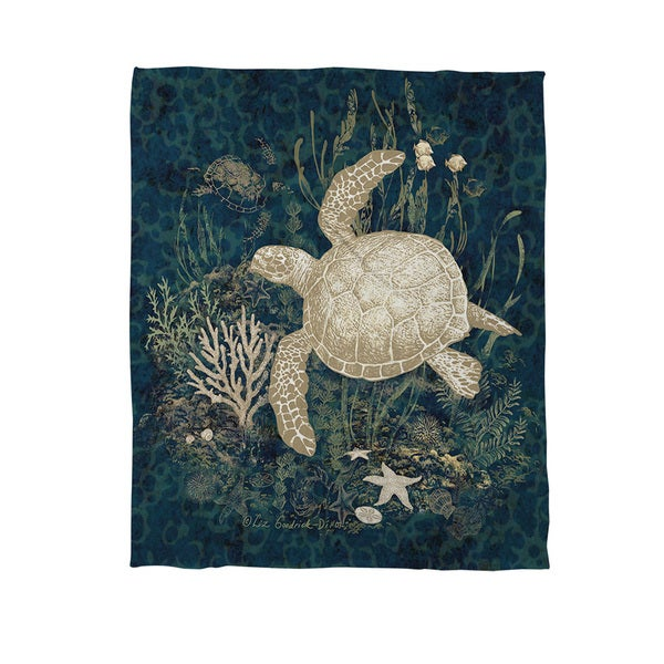 Sea Turtle Vignette Coral Fleece Throw