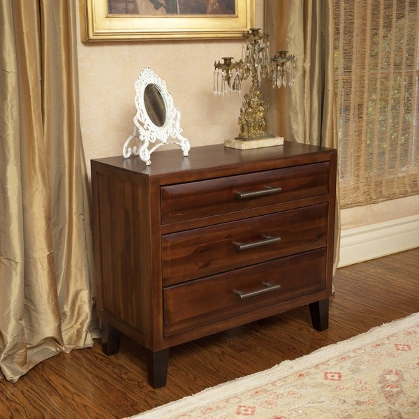 Luna Acacia Wood Three Drawer Chest by Christopher Knight Home